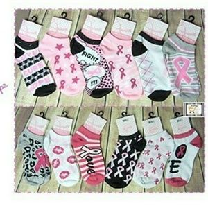 2 pair PINK RIBBON  Sock Cancer  2pairs